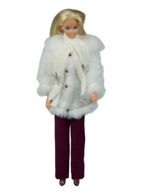 Комплект для куклы 29 см: полушубок, брюки и шарфик Модница.. Цвет: белый