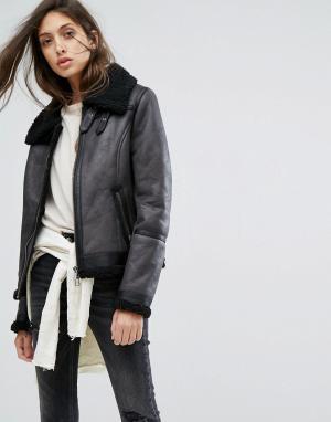 Goosecraft Кожаная куртка с меховым воротником. Цвет: черный