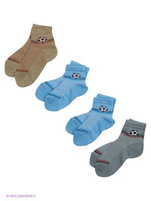 Носки, 4 пары Гамма. Цвет: голубой, желтый, серый