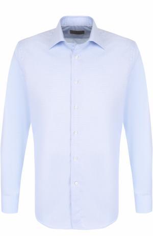 Хлопковая сорочка с воротником кент Canali. Цвет: голубой