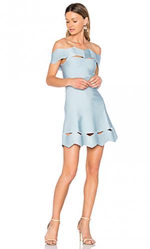Облегающее платье с зигзагообразными вырезами livia LOLITTA. Цвет: нежно-голубой