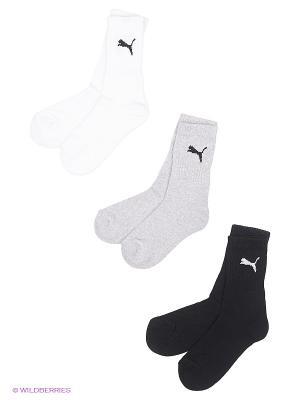 Носки PUMA SPORT JUNIOR 3P. Цвет: черный, серый, белый