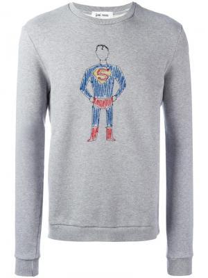 Толстовка с вышивкой супермена Jimi Roos. Цвет: серый