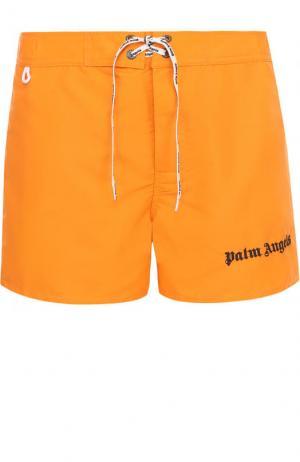 Плавки-шорты с отделкой Palm Angels. Цвет: оранжевый