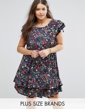 Koko Короткое приталенное платье с оборками и цветочным принтом Plus. Цвет: темно-синий
