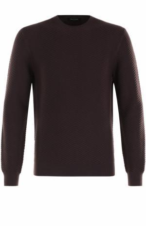 Джемпер фактурной вязки из смеси шерсти и кашемира Ermenegildo Zegna. Цвет: бордовый
