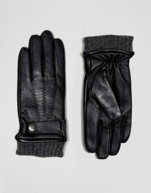 Dents Зеленые кожаные перчатки для сенсорных гаджетов Henley. Цвет: черный