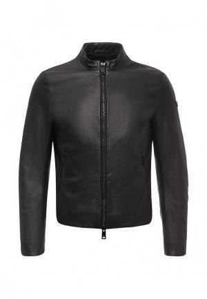 Куртка кожаная Armani Jeans. Цвет: черный