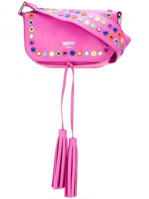 Декорированная сумка через плечо Moschino. Цвет: розовый и фиолетовый