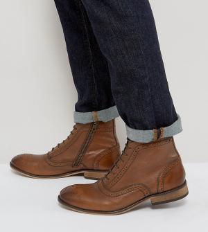 ASOS Светло-коричневые кожаные ботинки-броги для широкой стопы с молниями и. Цвет: рыжий