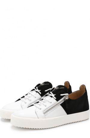 Комбинированные кеды Double на шнуровке Giuseppe Zanotti Design. Цвет: черно-белый