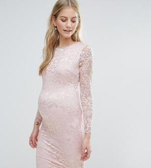 Queen Bee Кружевное облегающее платье. Цвет: розовый