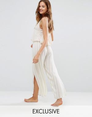 Akasa Пляжные брюки в полоску с разрезами. Цвет: мульти