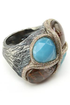 Кольцо Estrosia. Цвет: серебристый, голубой, бежевый