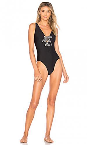 Слитный купальник shiny black Shoshanna. Цвет: черный