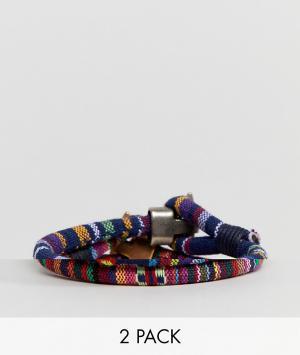 ASOS 2 плетеных браслета (темно-синий/красный) DESIGN. Цвет: мульти