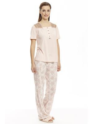 Пижама с брюками RELAX MODE. Цвет: персиковый