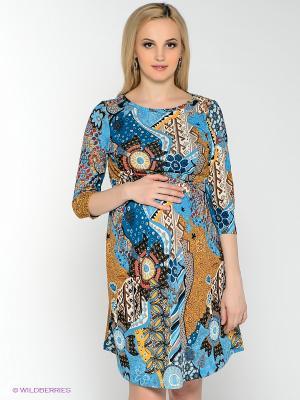 Платье для беременных и кормления 40 недель. Цвет: голубой, коричневый