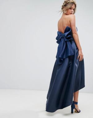 Chi London Платье миди бандо с бантом сзади. Цвет: темно-синий