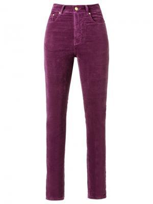 Бархатные брюки скинни с высокой талией Amapô. Цвет: розовый и фиолетовый