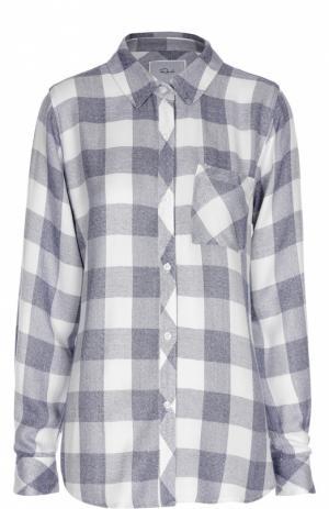 Блуза прямого кроя в клетку с накладным карманом Rails. Цвет: светло-серый