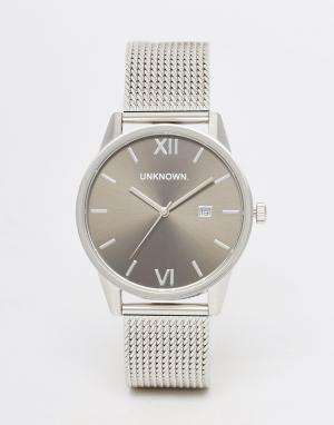 UNKNOWN Серые/серебристые часы с сетчатым браслетом Dandy. Цвет: серебряный