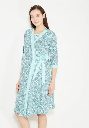 Комплект сорочка и халат Hunny mammy. Цвет: бирюзовый