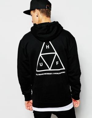 HUF Худи с тремя треугольниками. Цвет: черный