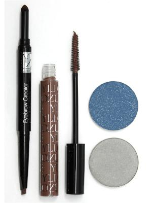 Промо-набор  декоративной косметики YZ (тушь+ +тени для век +карандаш бровей+ тушь бровей) ИЛЛОЗУР. Цвет: синий, коричневый, серый