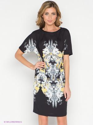 Платье Pompa. Цвет: черный, желтый, белый