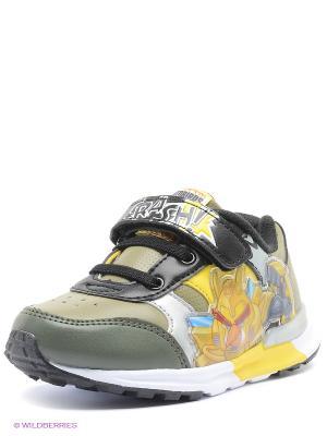 Кроссовки Kakadu. Цвет: хаки, желтый, черный