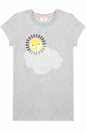 Хлопковая футболка с принтом Fendi Roma. Цвет: серый
