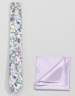 Gianni Feraud Галстук с цветочным принтом и однотонный платок-паше. Цвет: мульти