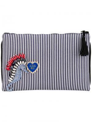 Декорированный полосатый клатч Lisa C Bijoux. Цвет: синий