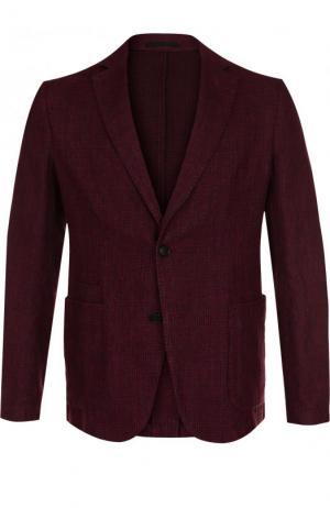 Однобортный пиджак из смеси хлопка и льна Z Zegna. Цвет: бордовый