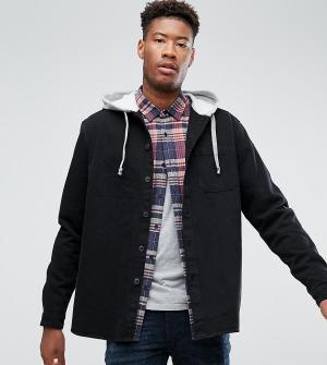 ASOS Джинсовая рубашка с капюшоном TALL. Цвет: черный