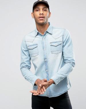 Bellfield Джинсовая рубашка. Цвет: темно-синий