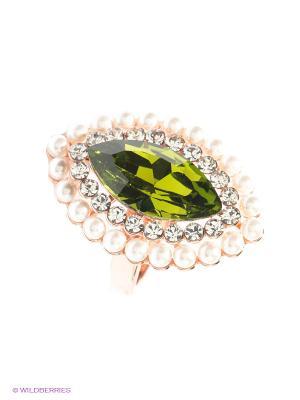 Кольцо Bijoux Land. Цвет: зеленый, золотистый, белый