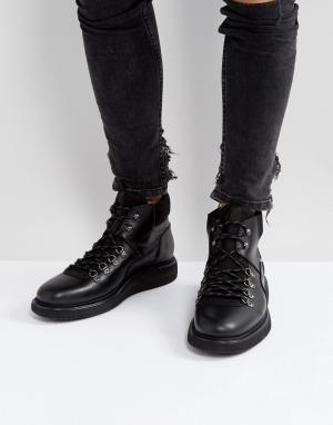 Hudson London Кожаные походные ботинки на шнуровке H Stange. Цвет: черный