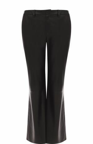 Укороченные расклешенные брюки из кожи Simonetta Ravizza. Цвет: черный