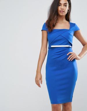 Jessica Wright Платье миди с поясом и короткими рукавами. Цвет: синий