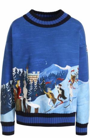 Хлопковый пуловер с круглым вырезом и принтом Moncler. Цвет: синий