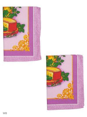 Набор полотенец вафельных кухонных Римейн. Цвет: фиолетовый