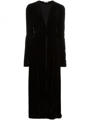 Длинное платье с V-образным вырезом Attico. Цвет: чёрный