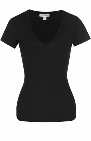 Приталенная футболка с V-образным вырезом James Perse. Цвет: черный