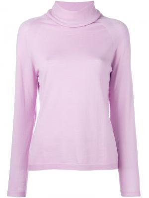 Джемпер с отворотом Les Copains. Цвет: розовый и фиолетовый