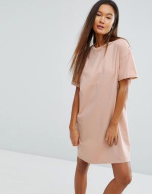 ASOS Платье-футболка с отворотами на рукавах Ultimate. Цвет: розовый