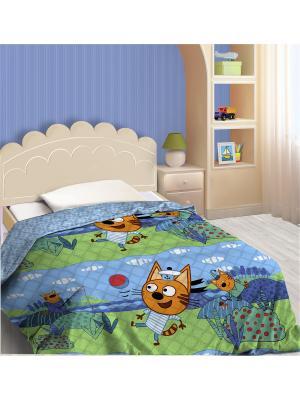 Покрывало декоративное Три кота, Коржик Василек. Цвет: синий