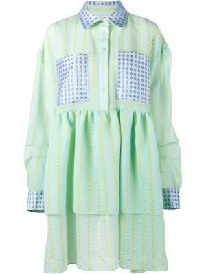 Жаккардовое платье с оборками Natasha Zinko. Цвет: зелёный