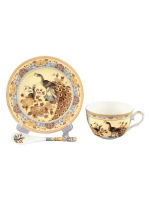 Чайная пара Павлин на бежевом Elan Gallery. Цвет: бежевый, белый